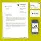 Briefbogen, Visitenkarte und Website, dargestellt in einem iPhone