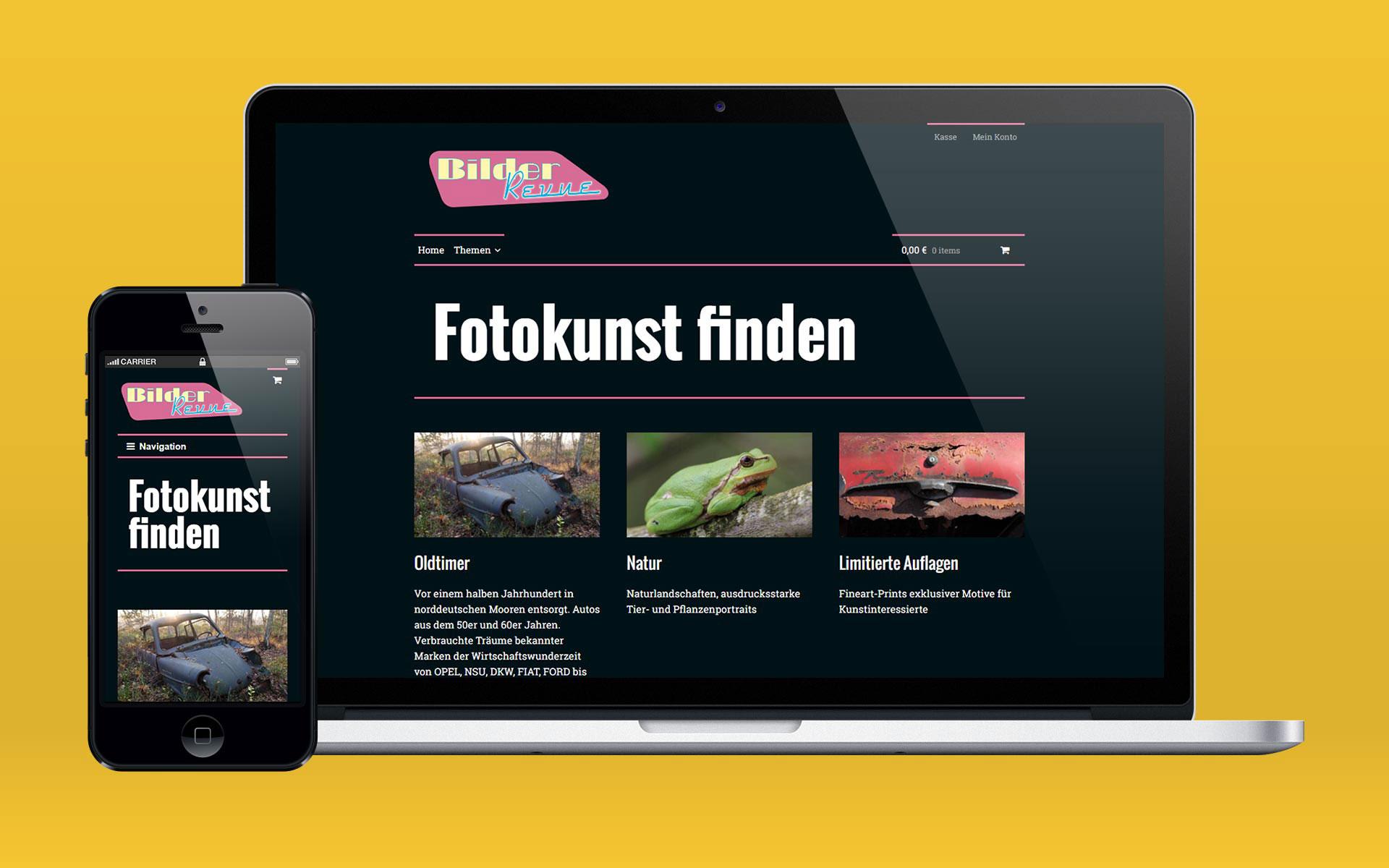 Onlineshop von Bilderrevue, dargestellt auf einem Macbook