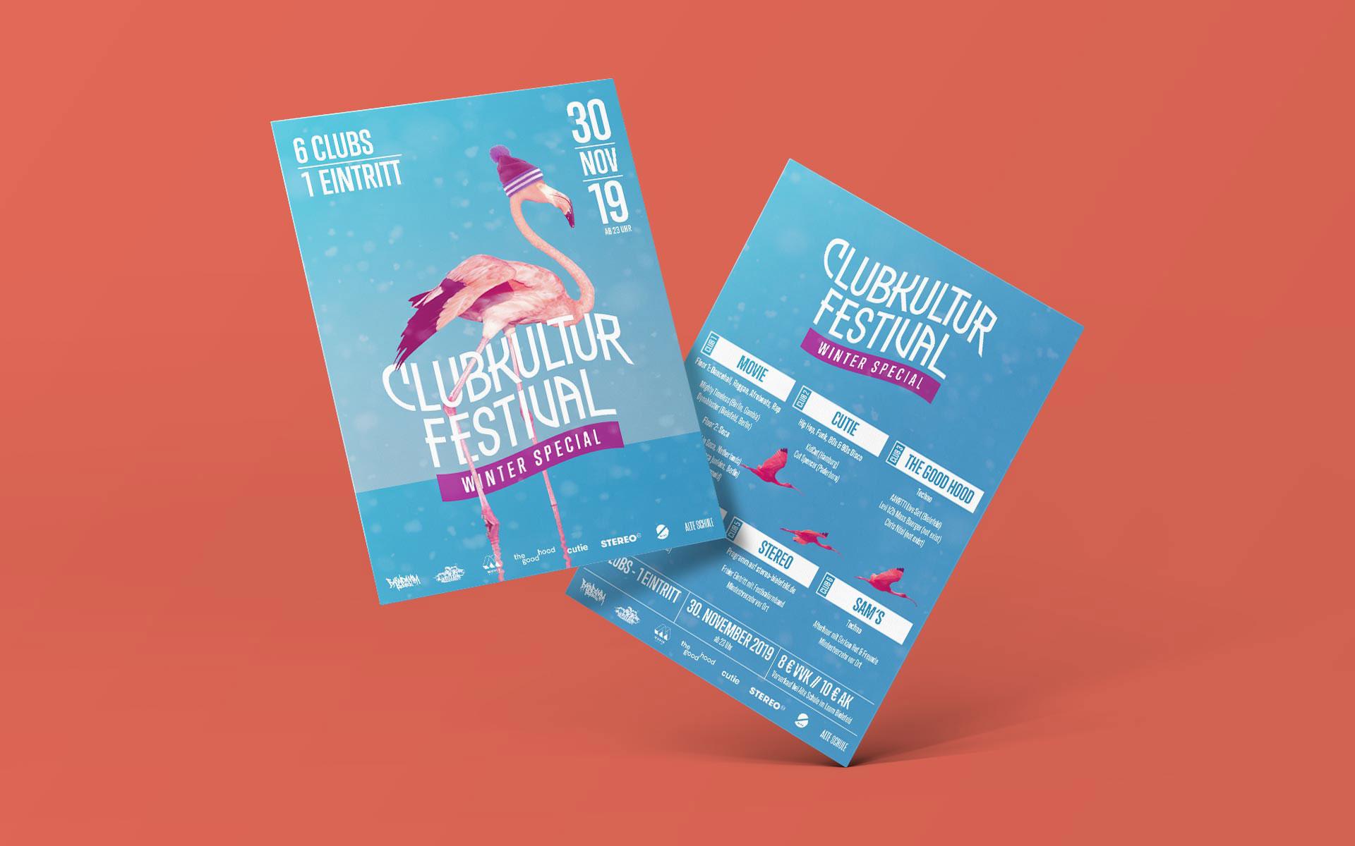 Flyer vom Clubkultur Festival, Vorder- und Rückseite