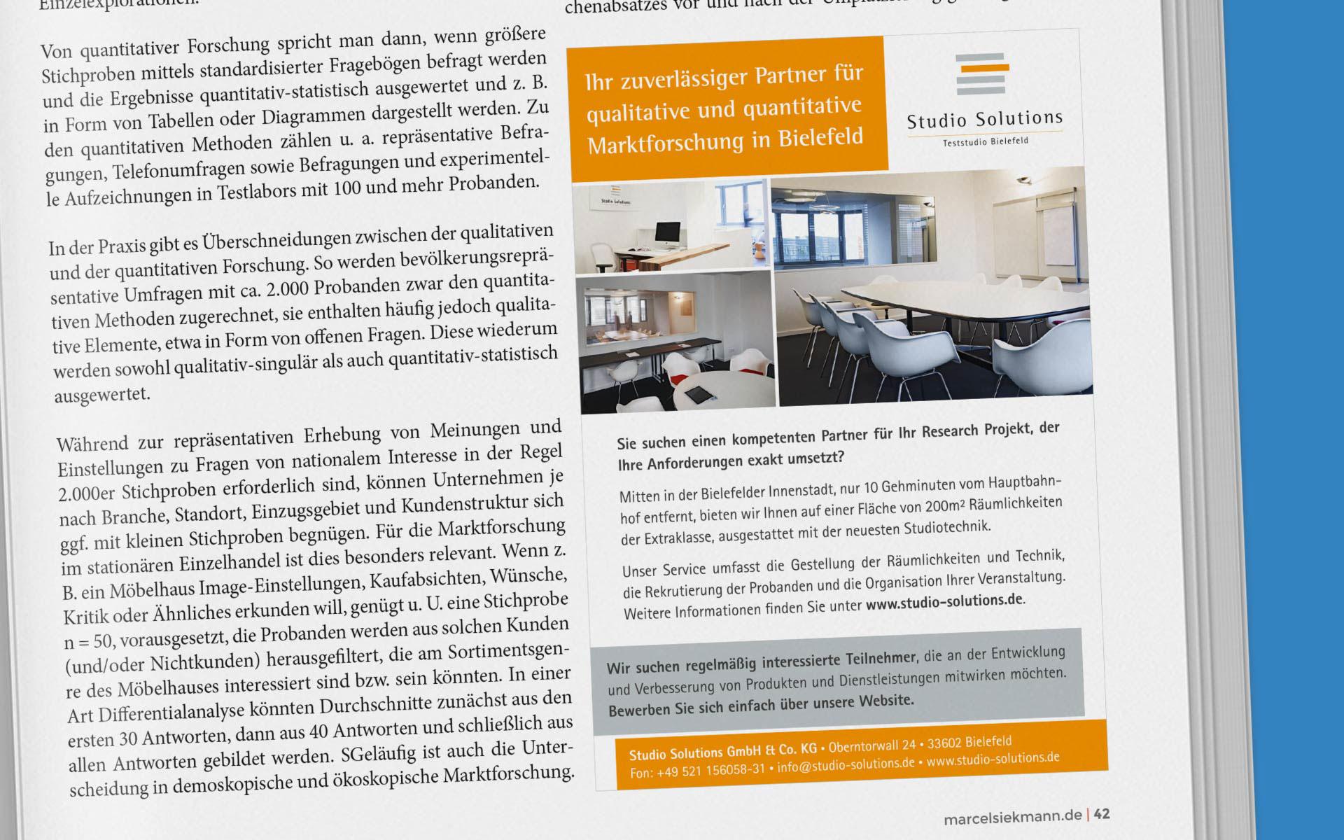 Anzeige für Studio Solutions auf der in einem Magazin