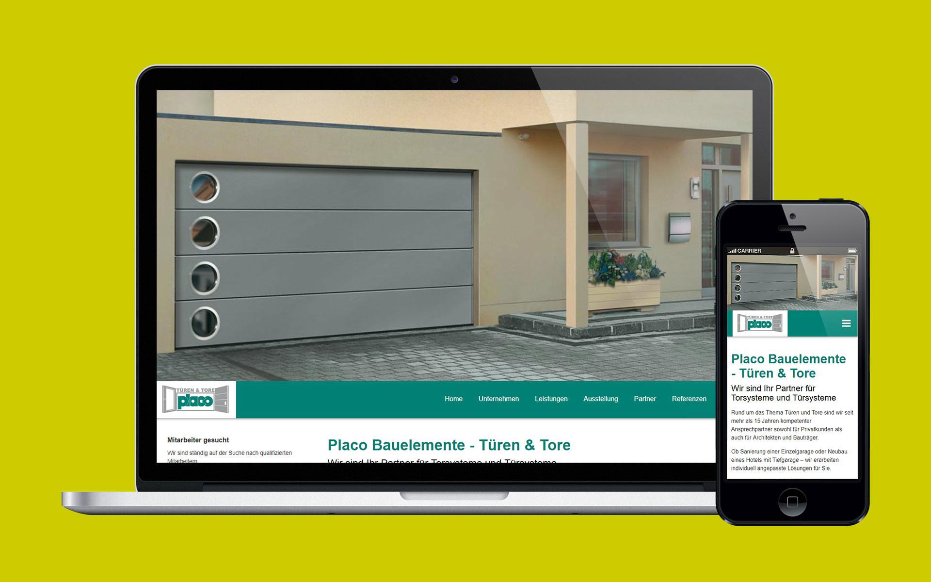 Website von Placo Bauelemente, dargestellt auf dem Bildschirm eines Laptop und Smartphone