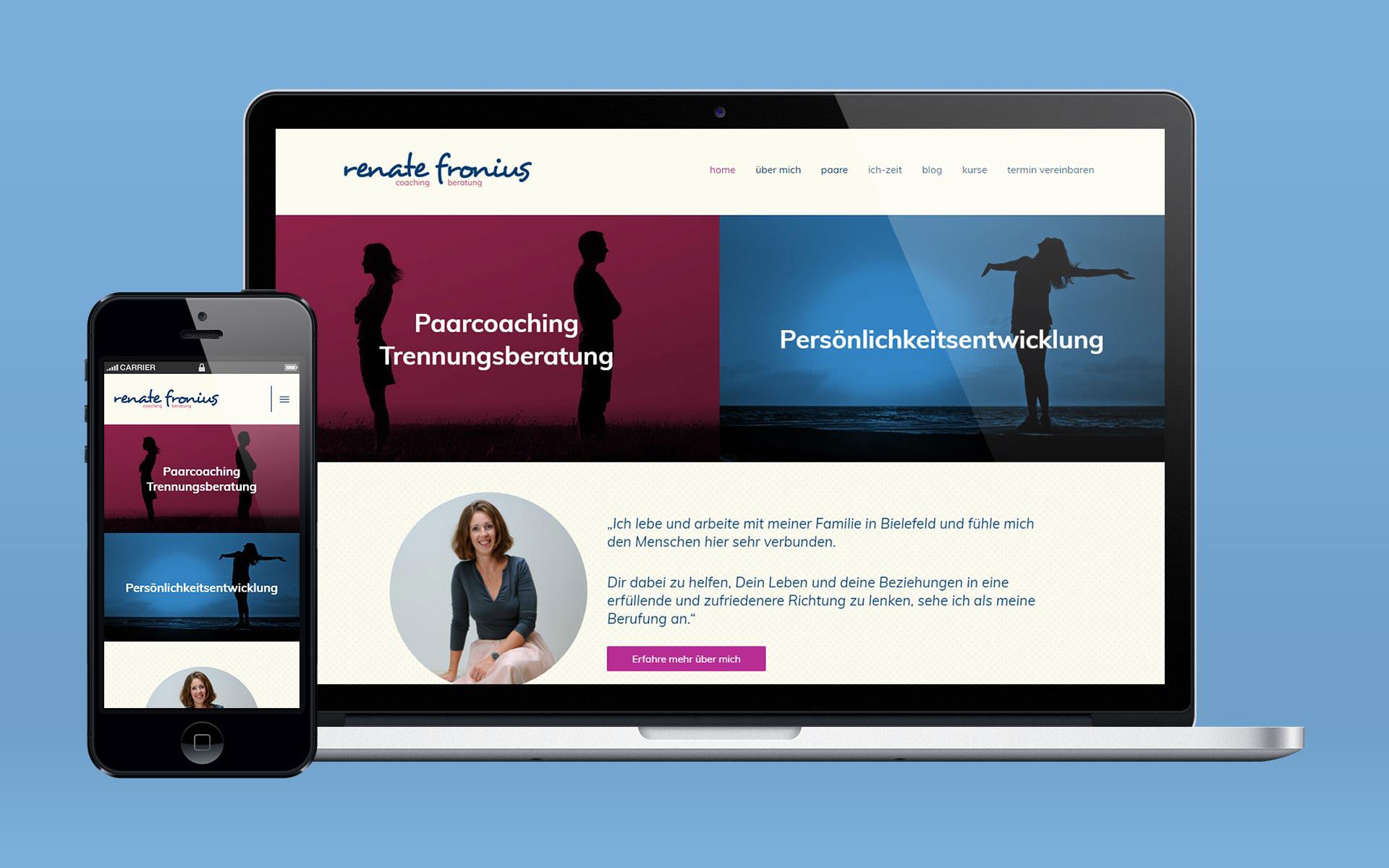 Website von Renate Fronius, dargestellt auf einem Macbook