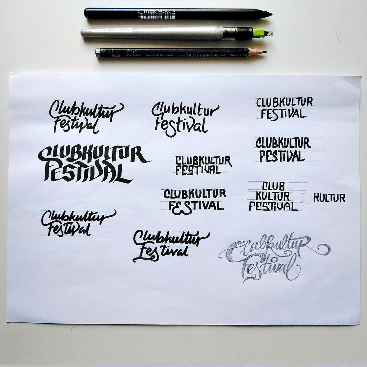 Skizzen des Begriff Clubkultur Festival auf einem Blatt